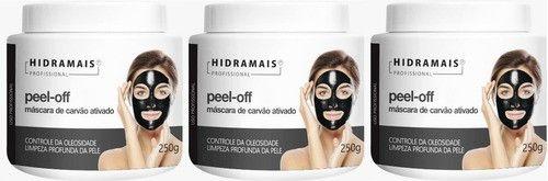 Mascara Peel-off Carvão Ativado 250g Hidramais - 3 Unidades