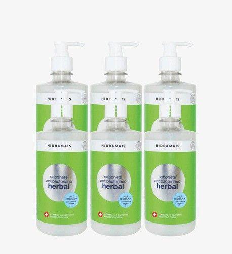 Sabonete Hidramais Antibacteriano Herbal 500 Ml - 6 Unidades