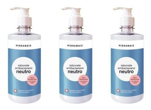 03 Sabonete Liquido Antibacteriano P/ Mãos - Neutro 500ml