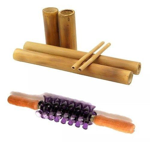 Kit Bambu + Rolo Massagem Turbinada Modeladora Bambuterapia