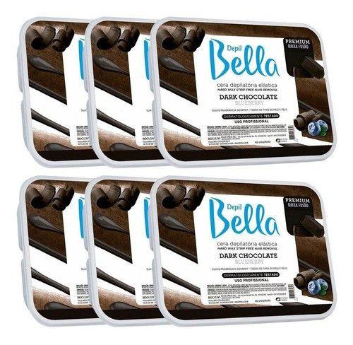 Combo 6 Cera Depilatoria Dark Chocolate Depil Bella - 1kg