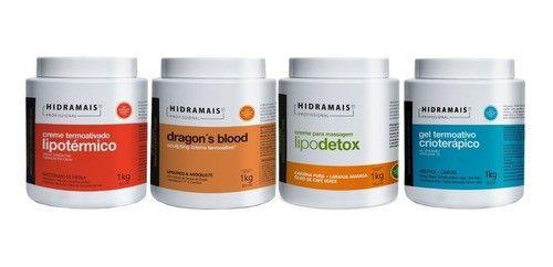 Kit Hidramais Lipotermico+dragons+lipodetox+gel Crioterapico