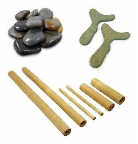 Kit 12 Pedras Quentes 06 Bambu 02 Pantalas Estetica Massagem
