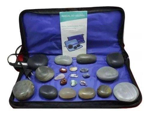 Kit 12 Pedras Quentes Agata Bolsa Termica Estek + 9 Cristais 110v