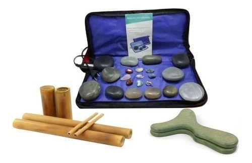 Kit Aquecedor C/12 Pedras Quente Bambu Pantala Massagem 110v
