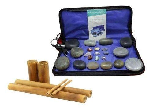 Kit Massagem Pedras Quentes Vulcanicas 110 Volts + Bambus