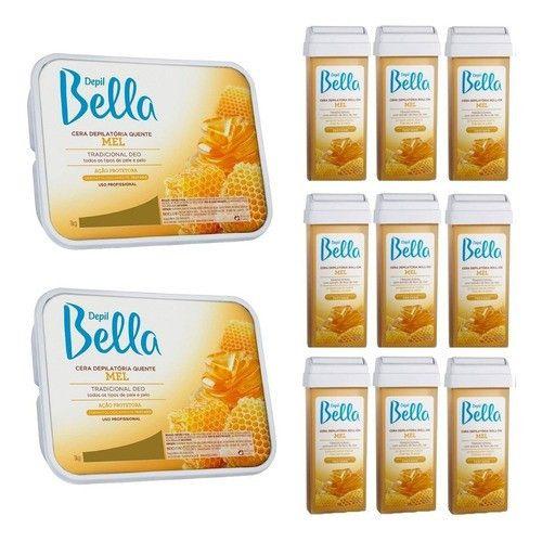 Depil Bella 2 Cera 1kg + 12 Cera Roll-n Mel