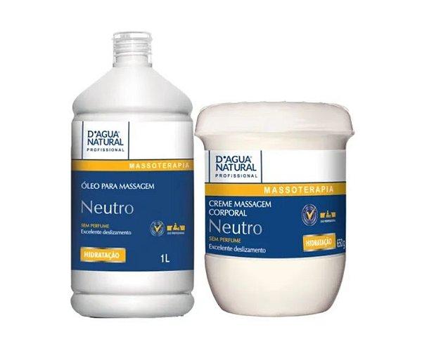 Creme Massagem Neutro 650g + Oleo 1l D Agua Natural