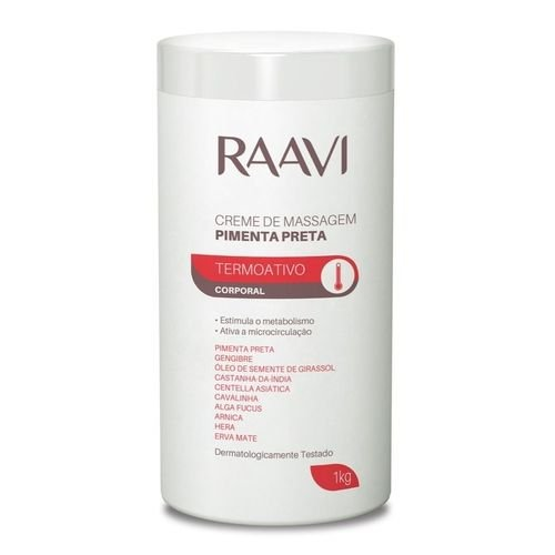 Creme De Massagem Termoativo Pimenta Preta Raavi 1kg