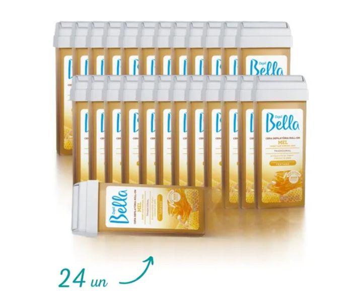 Kit 24 Refil Cera Depilatoria Roll-on Mel Depil Bella 100grs