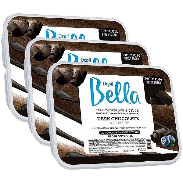 Kit 3 Cera Quente Em Barra Depil Bella 1kg - Dark Chocolate
