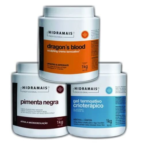 Kit Massagem Pimenta Negra, Dragons Blood, Crioterapico 3kg