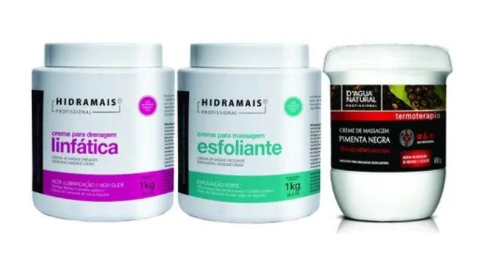 Kit Massagem 1 Esfoliante 1 Drenagem 1 Pimenta Negra 650 G