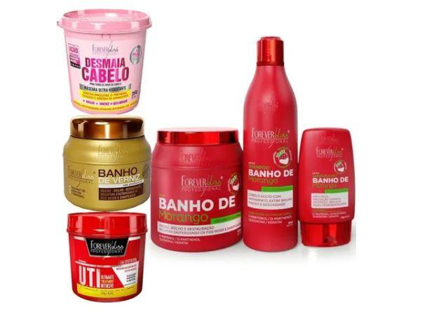 Kit Banho Morango, Banho De Verniz, Uti E Desmaia Cabelo