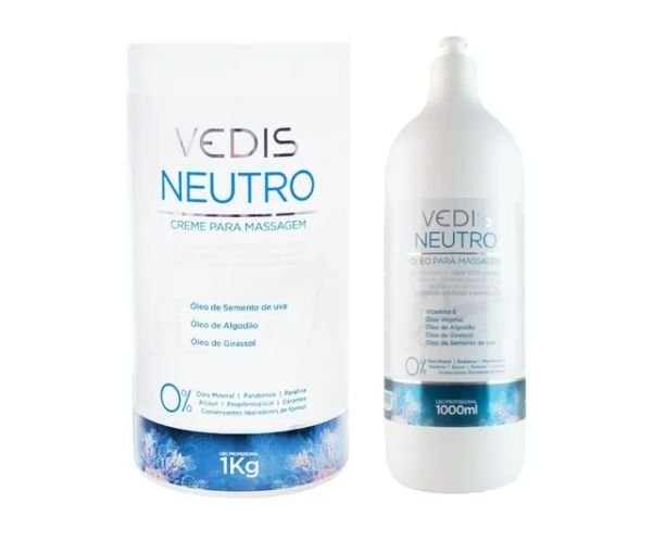 Kit Creme + Oleo De Massagem Neutro 1000ml - Vedis