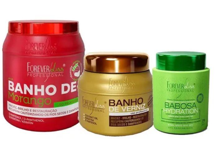 Kit Banho Morango 1kg, Babosa E Banho De Verniz 250gr