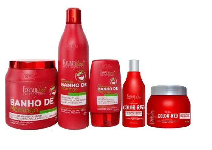 Kit Banho Morango Completo 1kg E Kit Color Red 250gr