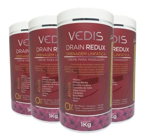 Creme De Massagem Drenagem Linfatica Drain Redux 4kg - Vedis