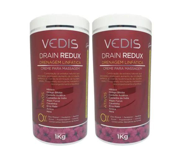 Creme De Massagem Drenagem Linfatica Drain Redux 2kg - Vedis