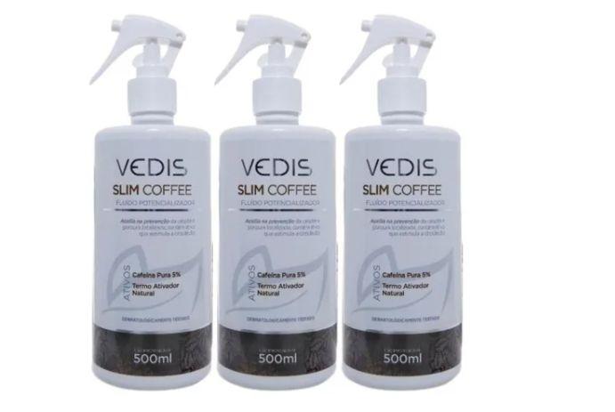 Kit 3 Fluido Redutor De Celulite Cafeina Slim Coffee Vedis