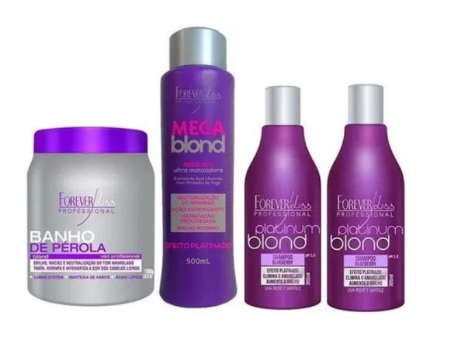 Kit 1 Banho De Perola, 1 Mega Blond E 2 Shampoos Matizador