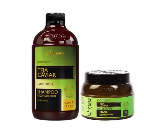 Pantovin Kit Teia Caviar Shampoo 500ml + Mascar 500g Reconstrução Original