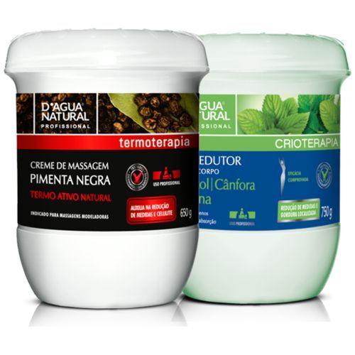 Kit Massagem Pimenta Negra E Gel Redutor D'agua Natural