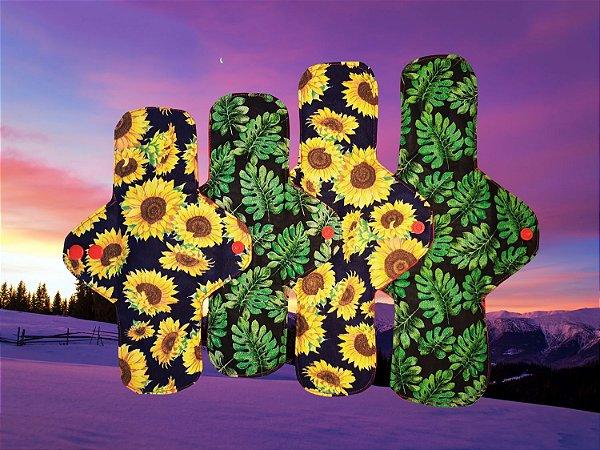 Kit Solstício de Inverno com 4 Absorventes Ecológicos Reutilizáveis de Tecido 100% Algodão