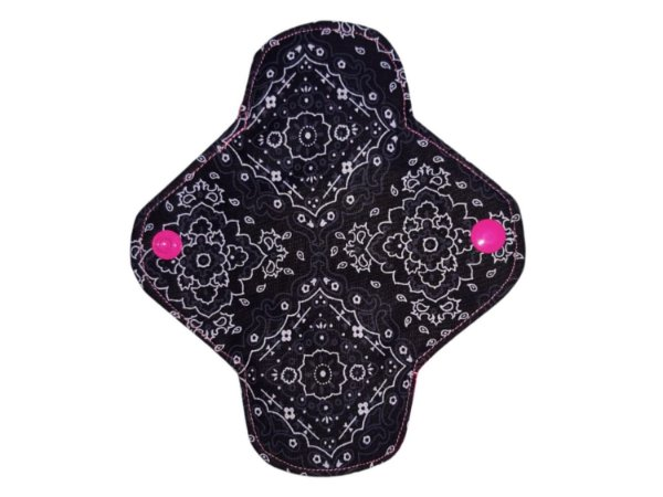 Ciclo Mini Mandala Preta - Absorvente Ecológico Reutilizável de Tecido 100% algodão
