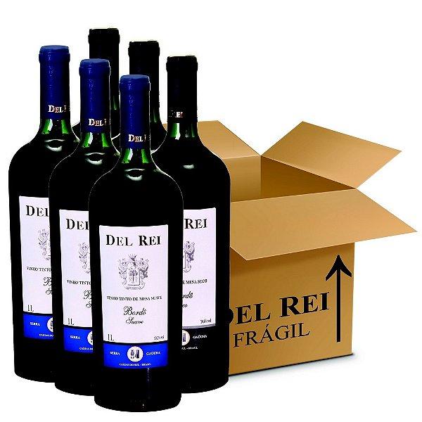 Box Misto - Vinho Del Rei com 6 Tinto Suave + 6 Tinto Seco Bordo 1l - Box Com 12 Unidades