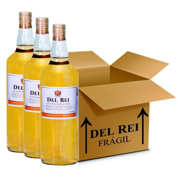 Vinho Colonial Del Rei Branco Suave Niagara 1l - Box Com 12 Unidades