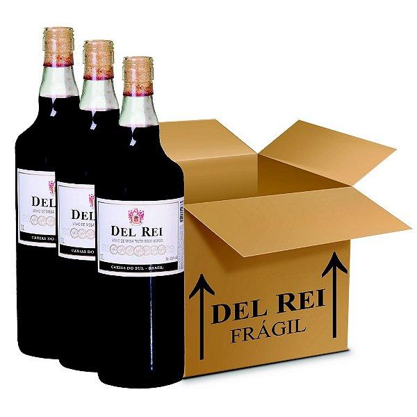 Vinho Colonial Del Rei Tinto Seco Bordo 1l - Box Com 120 Unidades