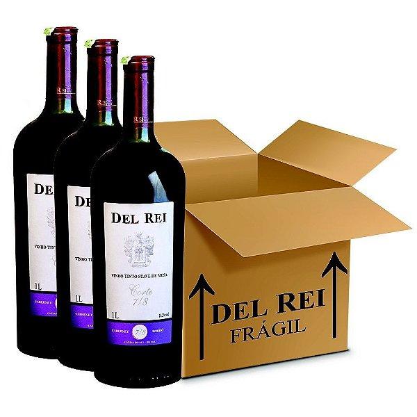 Vinho Del Rei Tinto Suave 7-8 Cabernet e Bordo 1l - Box Com 120 Unidades