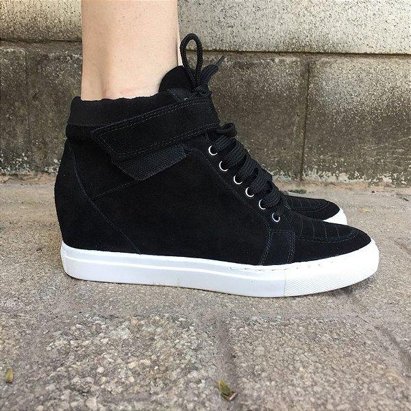 Sneaker Preto de Camurça Lia Line