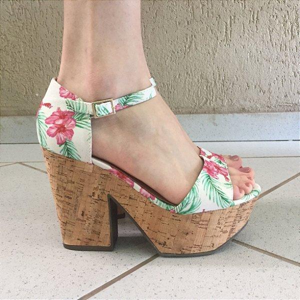 Sandália Meia Pata Floral com Salto de Cortiça Offline