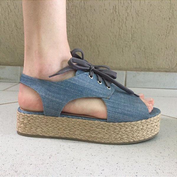 Espadrille Jeans com Abertura Frontal e Cadarço Lia Line