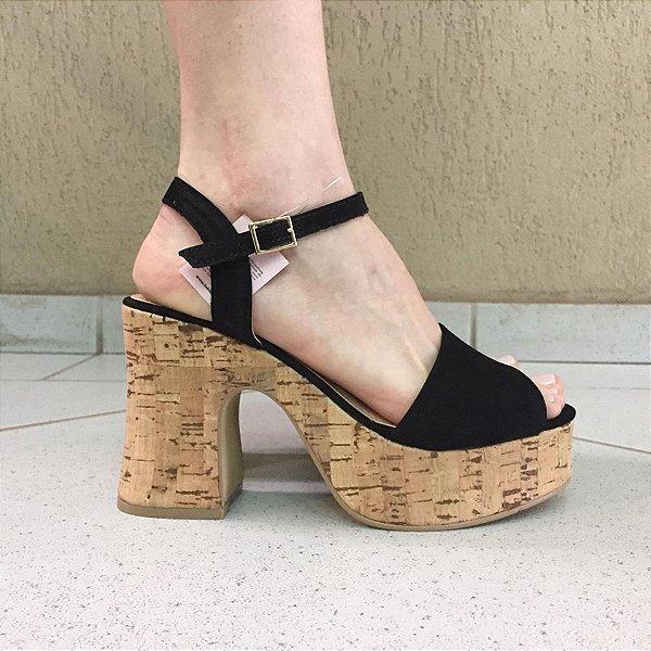 Sandália Preta com Salto de Cortiça Lia Line