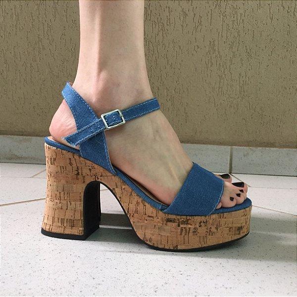 Sandália Meia Pata Jeans com Salto Cortiça Liêz