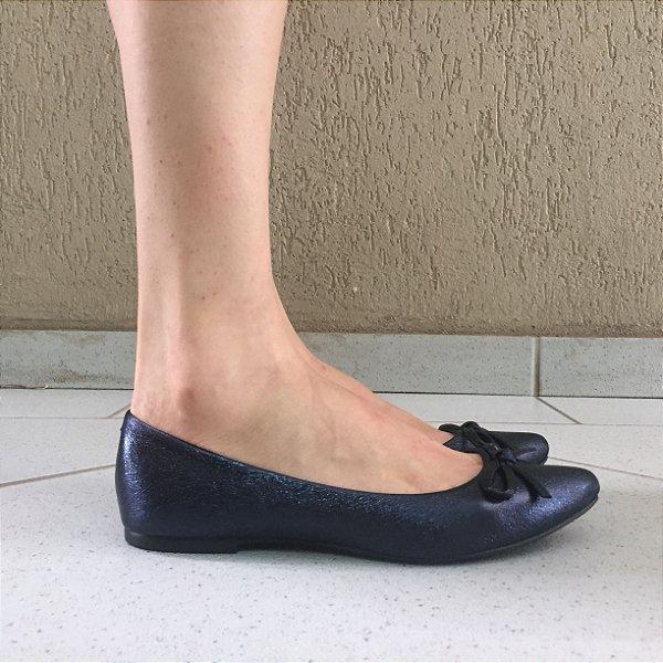 Sapatilha Bico Fino Craquele Azul com Laço Sua Cia