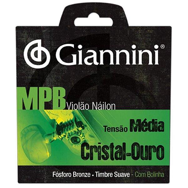Enc Violão Nylon Tensão Média Série MPB Cristal/Ouro Com Bolinha GENWG - Giannini