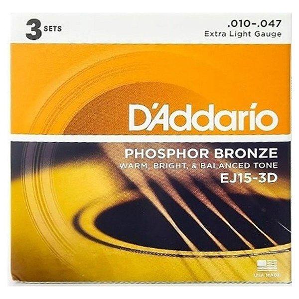 Kit 3 Encordoamento Violão Phosphoro Bronze 010 Aço EJ15-3D C/3 - D
