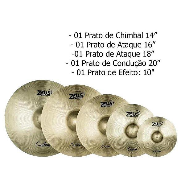 """Set de Prato B20 Custom Set E 10"""" 14"""" 16"""" 18"""" 20"""" + Bag - Zeus"""