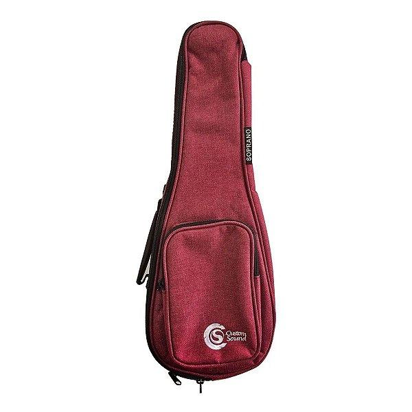 Capa Custom Sound para Ukulele Soprano Confort Vinho UKS WR Vinho