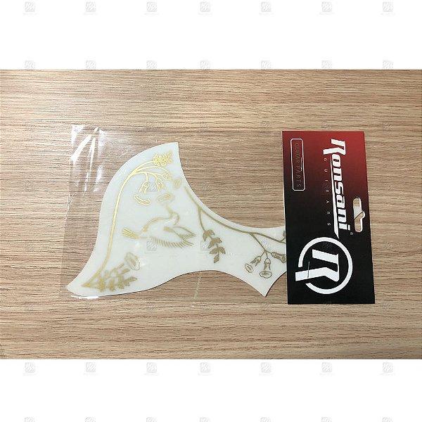 Escudo para Violão Vintage Floral II White 311 - Ronsani