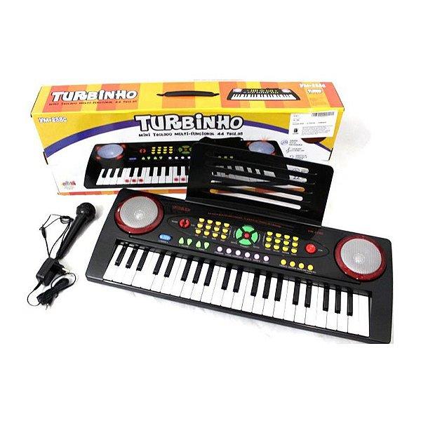 Teclado Musical Infantil com Microfone, Fonte e suporte para Partituras 44 teclas YM-238C - Turbinho