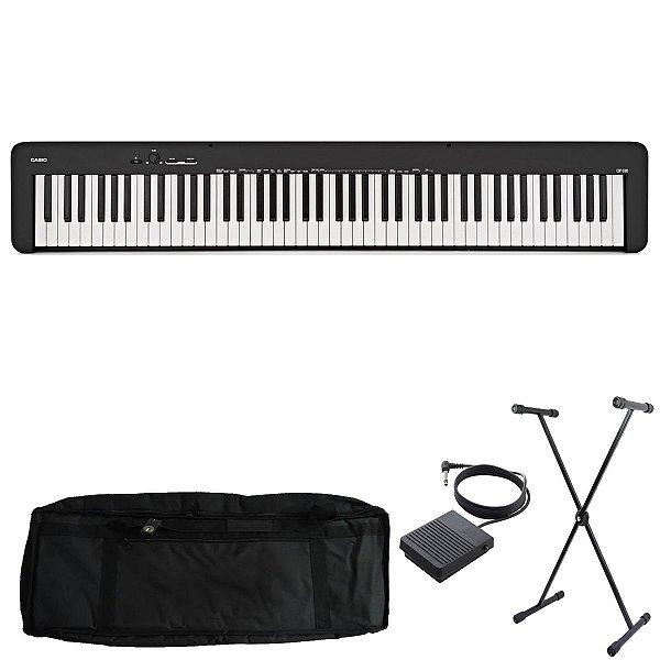 Kit Piano Digital Casio CDP-S100 BK com Capa estofada, Suporte e Pedal Sustain