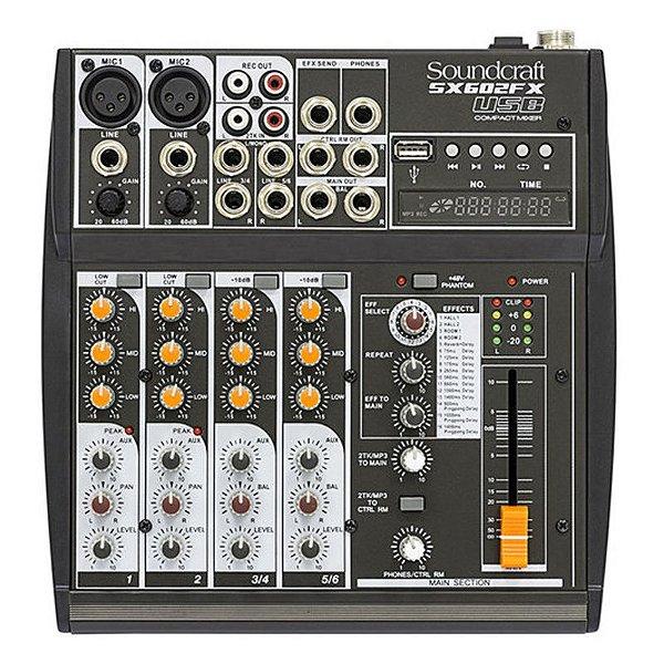 Mixer Mesa De Som 6 Canais SX602FX-USB - Soundcraft