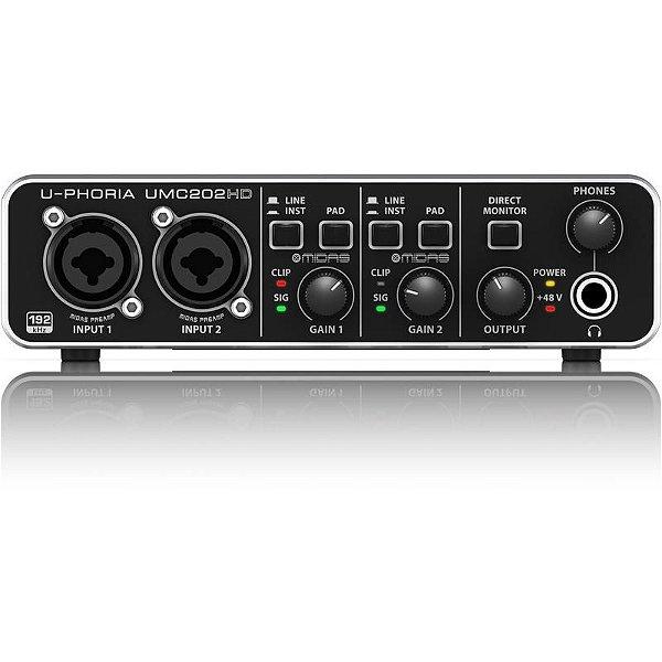 Interface de Audio Behringer 2 canais com pré MIDAS U-Phoria UMC202HD
