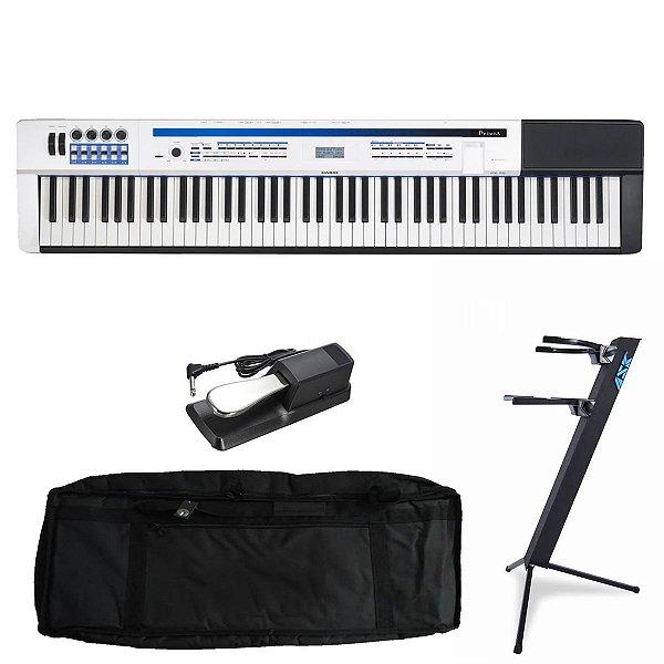 Kit Piano Digital Casio Privia PX-5S WE Branco com Capa estofada, Suporte Torre e Pedal Sustain