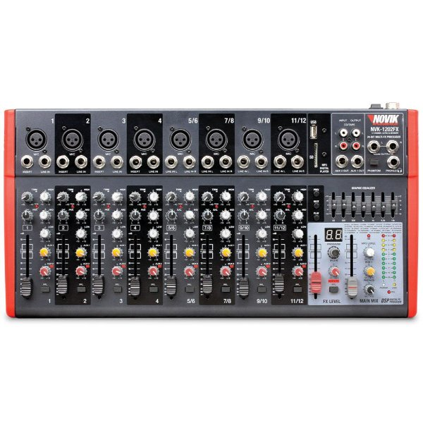 Mixer Mesa de Som Novik 12 Canais NVK-1202FX 110v